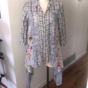 Aratta Silent Journey Boho Button Down Shirt Tunic